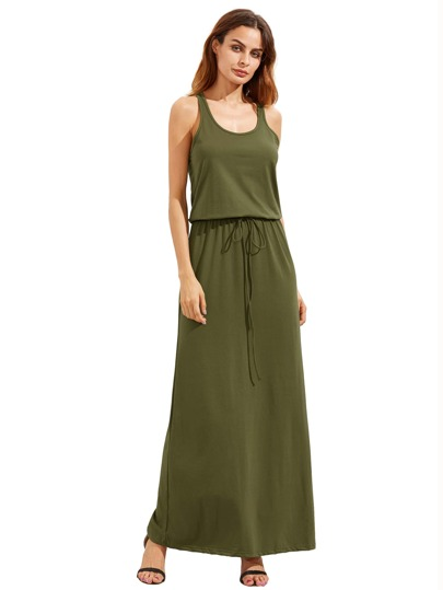 Army Green Self-tie Waist Sleeveless Maxi Dress