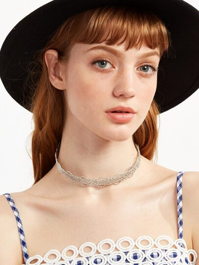 Silver Geometric Hollow Out Choker Necklace