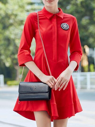 Vestido línea A con solapa - rojo