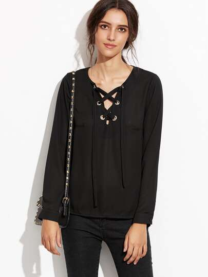 Black Deep V Neck Eyelet Lace Up Blouse