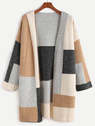 Color Block Drop Shoulder Open Front Sweater Coat