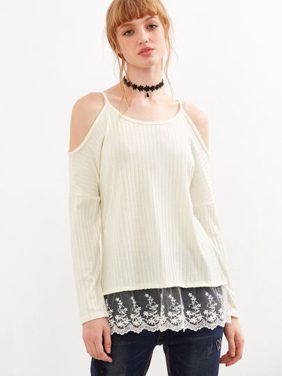 Beige Cold Shoulder Contrast Lace Hem Sweater