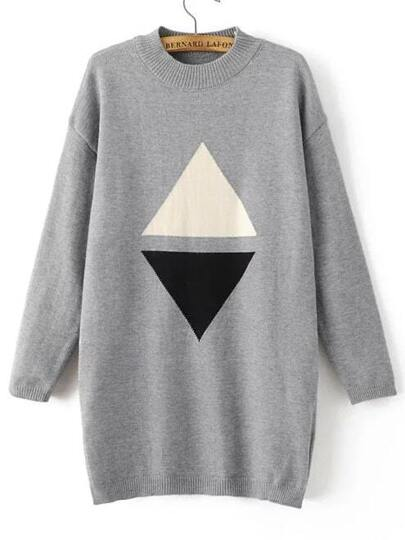 Grey Triangle Pattern Drop Shoulder Sweater Dress