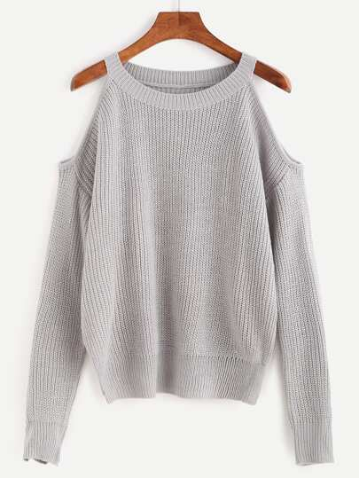 Grey Open Shoulder Knit Sweater