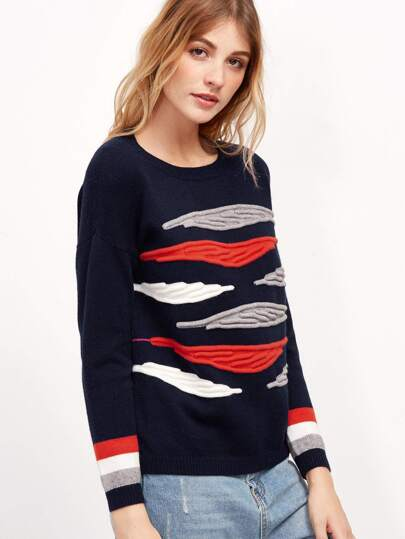 Navy Textured Knit Drop Shoulder Striped Sleeve Sweater