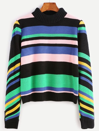 Multicolor Mixed Stripe Slit Cuff Ribbed Sweater