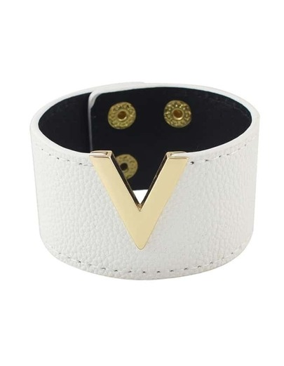 White Pu Leather Wide Bangles