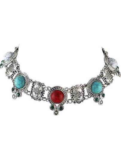 Colorful Indian Design Imitation Turquoise Choker Collar Necklace