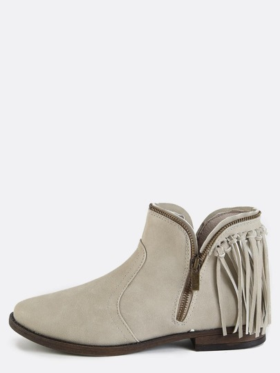 Low Cut Fringe Ankle Boots STONE