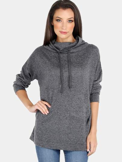 Cowl Neck Drawstring Sweatshirt GREY