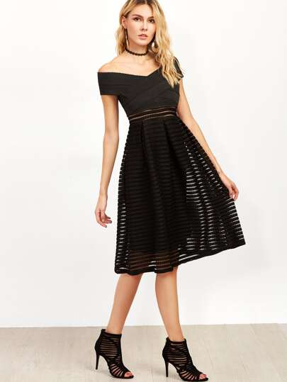 Black Off The Shoulder A Line Dress