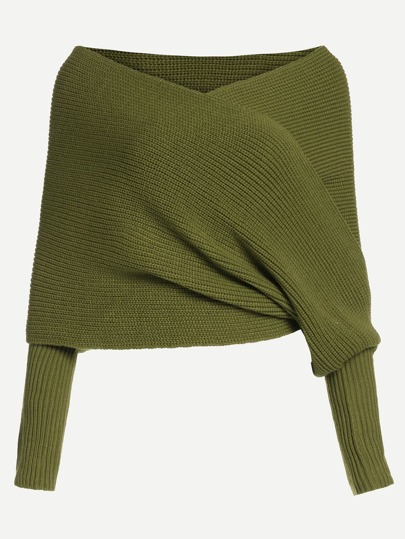 Olive Green Off The Shoulder Cross Wrap Sweater