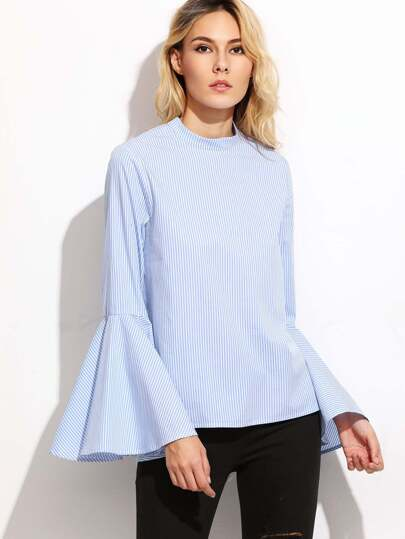 Blue Vertical Striped Keyhole Back Bell Sleeve Blouse