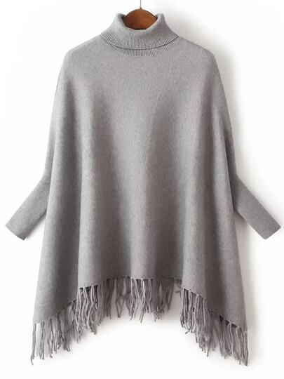Grey Turtle Neck Batwing Sleeve Fringe Cape Sweater