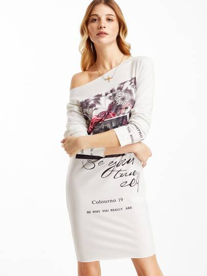 White Graphic Print Boat Neck Sheath Dress