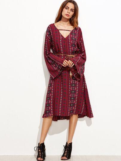 Burgundy Tribal Print Bell Sleeve Slit Dress