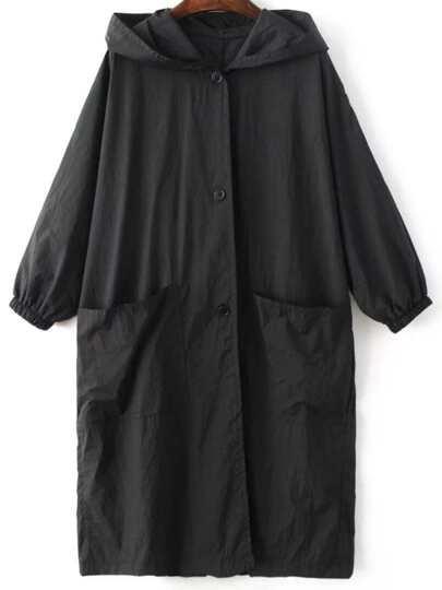 Black Letter Embroidery Slit Hooded Coat