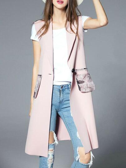 Pink Sleeveless Pockets Print Vest