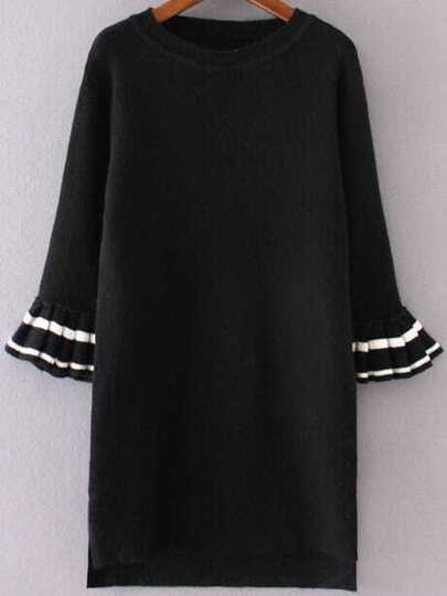 Black Flare Sleeve High Low Sweater Dress