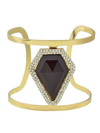 Coffee New Design Imitation Gemstone Wide Cuff Bracelet