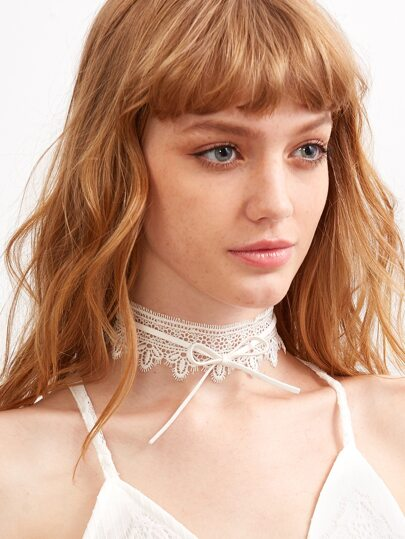 White Bow Tie Crochet Lace Choker