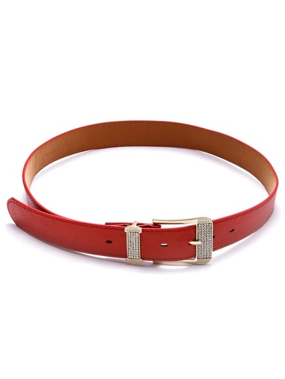 Red Buckle Faux Leather Belt