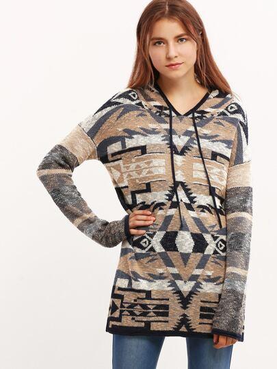 Multicolor Geometric Pattern Hooded Sweater