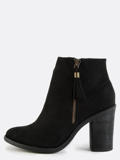 Suede Tassel Ankle Booties BLACK