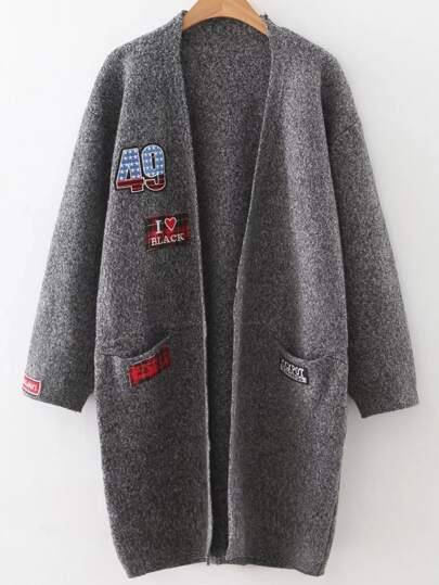 Dark Grey Patch Collarless Cardigan With Pockets