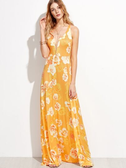 Floral Print Deep V Neck Crisscross Back Maxi Dress