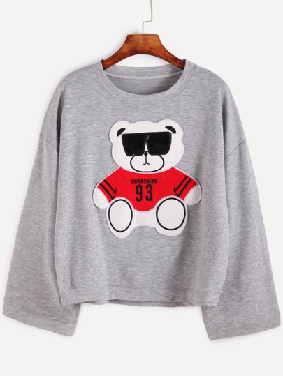 Light Grey Drop Shoulder Bear Patch Sweatshirt