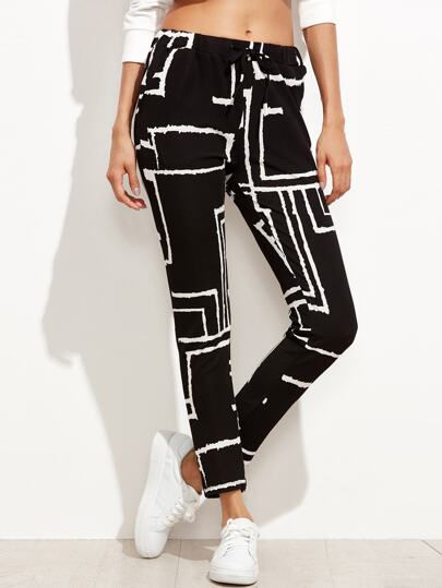 Black Geometric Print Drawstring Pants
