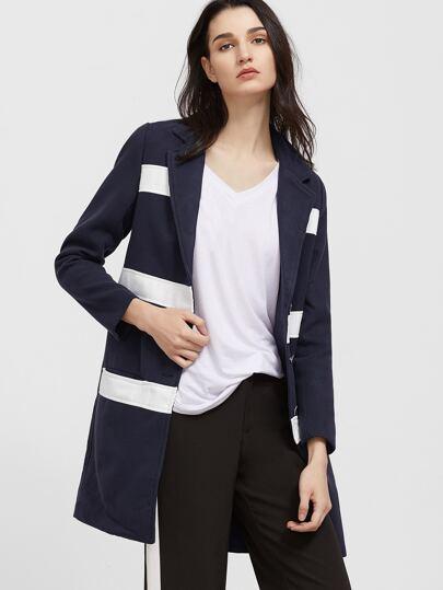 Veste longue à rayure avec poche et bouton - bleu marine