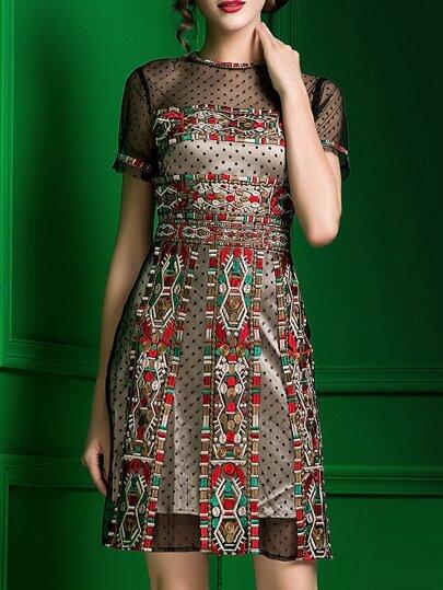 Kleid mit Stickereien Polka Dot -bunt