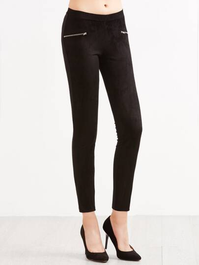 Black Skinny Pants With Zip Detail