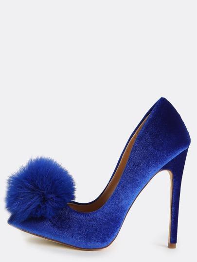 Velvet Pom Pom Heels BLUE