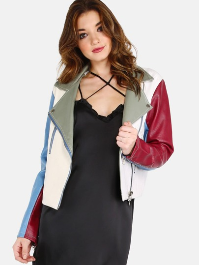Faux Leather Colorblock Moto Jacket VANILLA
