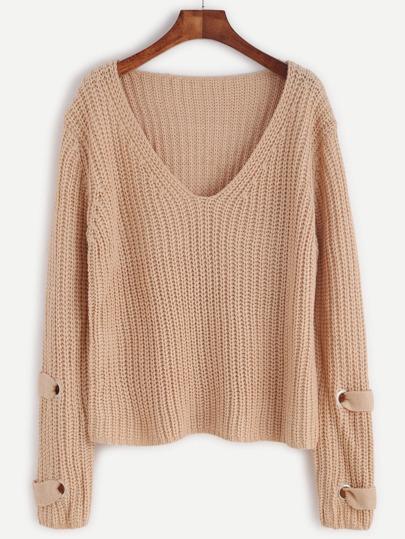 Apricot V Neck Eyelet Detail Slouchy Sweater