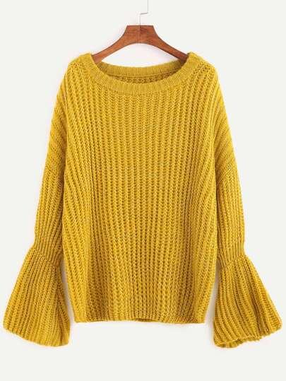 Yellow Marled Knit Bell Cuff Sweater