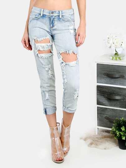 Pantaloni tagliati strappati - blu chiaro