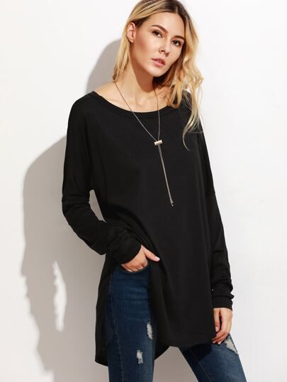 Black High Low Curved Hem Long T-shirt