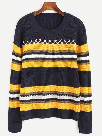 Navy Striped Ribbed Sweater