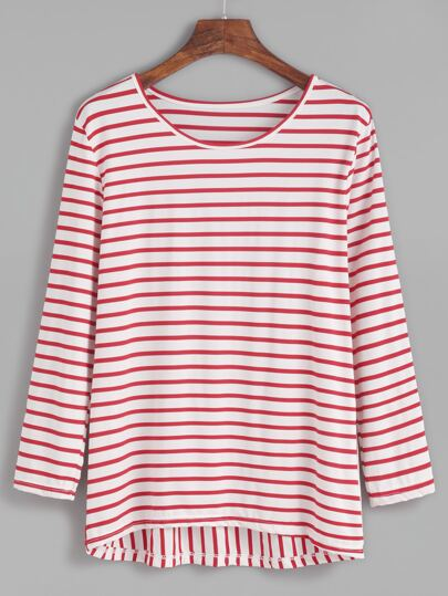 Red Striped High Low T-Shirt