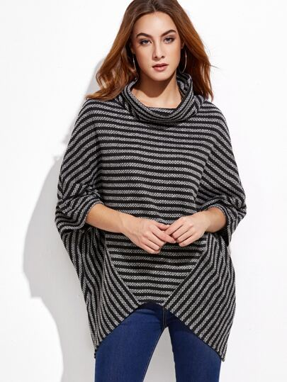 High Neck Striped Asymmetrical Sweater