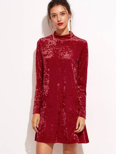 Red Mock Neck Keyhole Velvet Dress