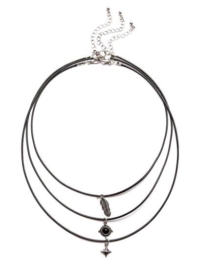 Colliers 3PCS avec pendentif en perle - noir