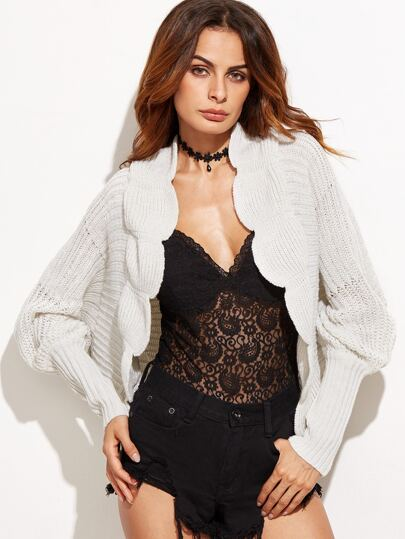 White Scalloped Batwing Sleeve Sweater Coat