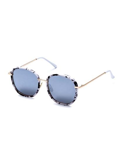 Marble Frame Large Lens Gold Arm Sunglasses