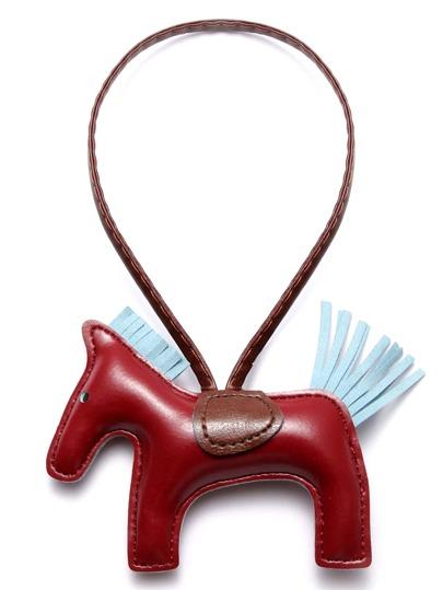 Dark Red Faux Leather Pony Keychain