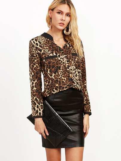 Blouse imprimé léopard avec poches